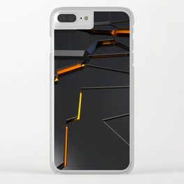 Black fractured surface with orange glowing lines Clear iPhone Case
