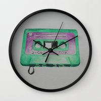 cassette Wall Clocks featuring Cassette by TrishRay