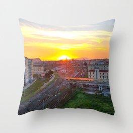 Fuorigrotta quarter at sunset Throw Pillow