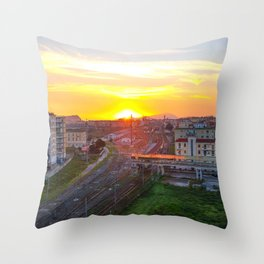 Fuorigrotta quarter at sunset Throw Pillow