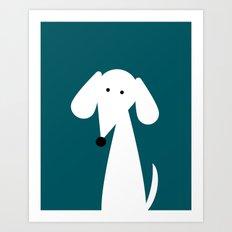 White Dachshund - Turquoise  Art Print