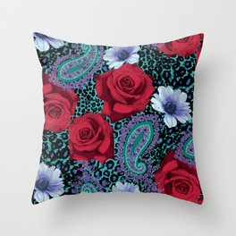 Rose Paisley w skin Throw Pillow