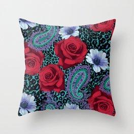 Rose Paisley w skin Throw Pillow