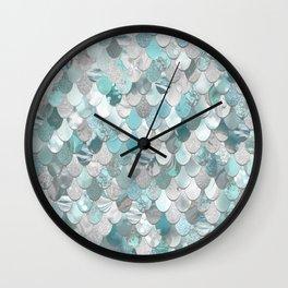 Mermaid Aqua and Grey Wall Clock