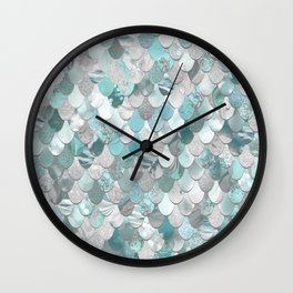 Mermaid Aqua and Grey Wall Clock