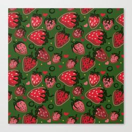 Strawberry pattern Canvas Print