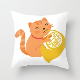 Cat Playing French Horn design Musician Orchestra Gift Throw Pillow