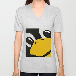 Linux tux Penguin eyes Unisex V-Neck