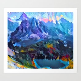 Abstract Landscape - Mountains and lakes Art Print
