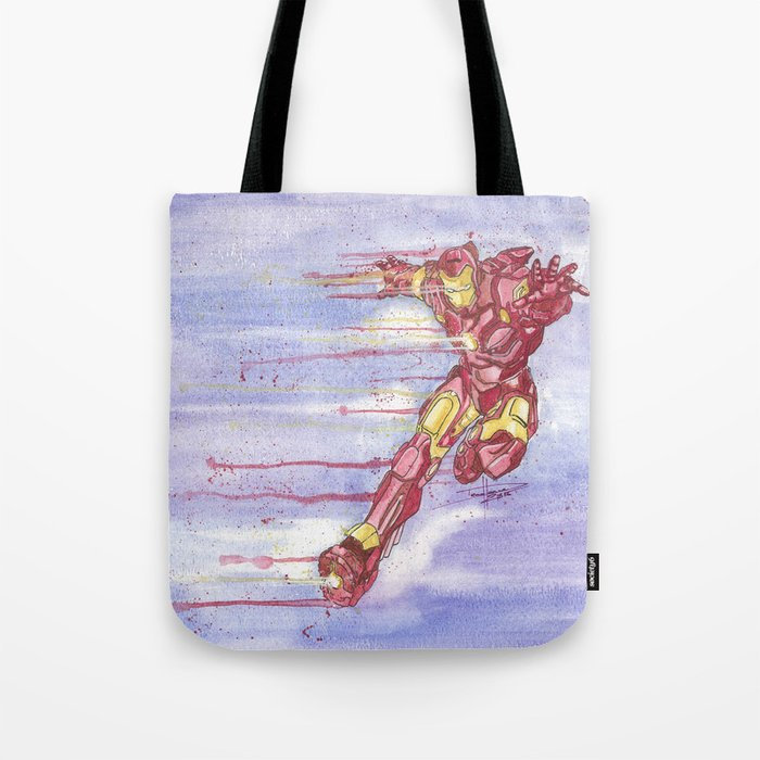 Iron Man Watercolor Tote Bag