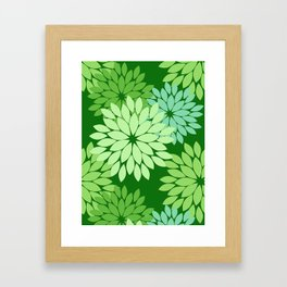 Modern Floral Kimono Print, Lime Green Framed Art Print
