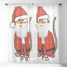 Cute cat dressed in a Santa suit, Santa hat and white beard Sheer Curtain