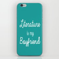 literature iPhone & iPod Skins featuring Literature is my boyfriend teal by Beautiful Bibliophile's Boutique
