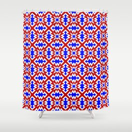 Red White and Blue Firecracker Festive Fireworks Stylized Country Decor Southwestern Design Pattern Shower Curtain