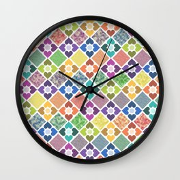 Colorful Floral Pattern III Wall Clock