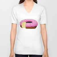 donut V-neck T-shirts featuring Donut by Melissa Romulus