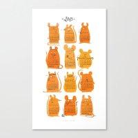 calendar 2015 Canvas Prints featuring Calendar 2015 by Claire Fauché