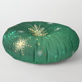 Gold Snowflakes on a Green Background Floor Pillow