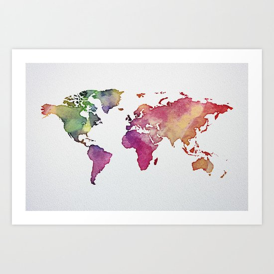 Multicolor World Map 01 Art Print