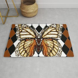 BLACK HARLEQUIN PATTERNED BROWN-WHITE  BUTTERFLY Rug