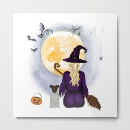 Fox-Terrier  Dog  & Witch hanging witch broom Best Friends Halloween Dog Lover Costume Metal Print