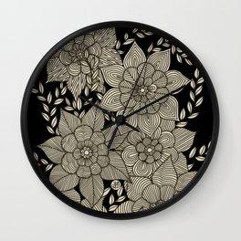 Zentangle Flowers Wall Clock