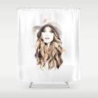 downton abbey Shower Curtains featuring Abbey by Esther Kang