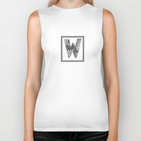waldo Biker Tanks featuring Zentangle W Monogram Alphabet Illustration by Vermont Greetings