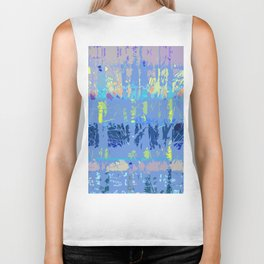 Abstract Forest Trees in Blue and Lilac Biker Tank