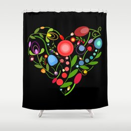 Floral heart on black Shower Curtain