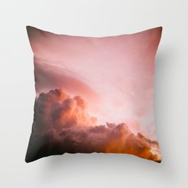Beautiful Pink Orange Fluffy Sunset Clouds Cotton Candy Texture Sky Throw Pillow