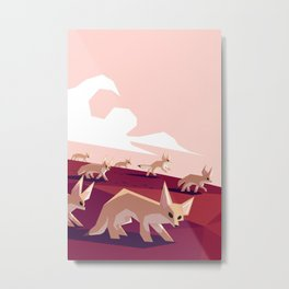 Desert foxes on the prowl Metal Print
