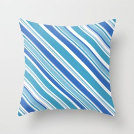Trendy Icy Blue and White Stripes Diagonal Pattern Throw Pillow