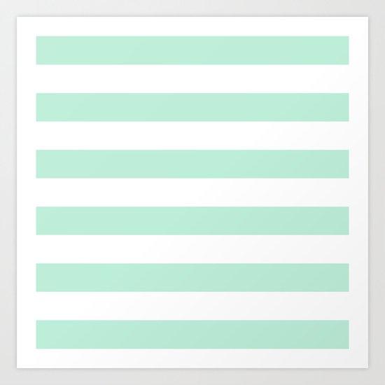 Stripe Horizontal Mint Green Art Print