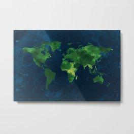 Nature World Map Metal Print