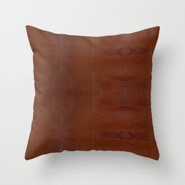 Burnt Orange Leather Throw Pillow