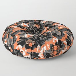 Mount Cook Lily - Orange/Black Floor Pillow