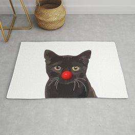 Black Cat Red Clown nose Rug