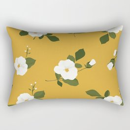 Floral throw pillow - White flowers on ochre background Rectangular Pillow