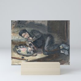 Oil painting of a man smoking an opium pipe, Europe Mini Art Print