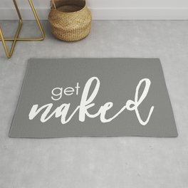 Get Naked // White on Dark Grey Rug