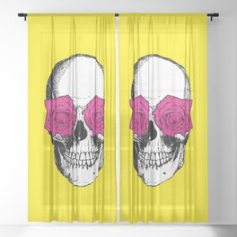 Skull and Roses | Skull and Flowers | Vintage Skull | Yellow and Pink | Sheer Curtain