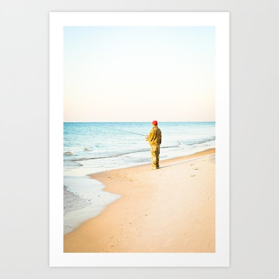Beach Fishing Art Print