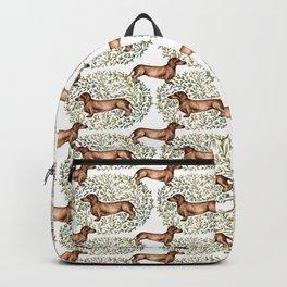 Dachshund Sausage Dog Print Botanical Backpack