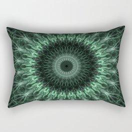 Graphic mandala in dark green tones Rectangular Pillow