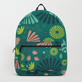 Whimsical flowers - green, pink and yellow Backpack