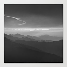Misty mountains. WB. Yesterday Canvas Print
