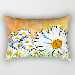 Daisies - Orange and Gold Rectangular Pillow