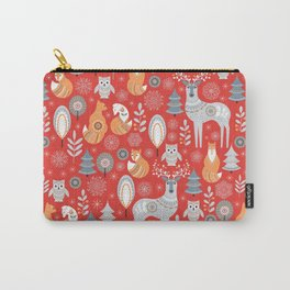 Scandinavian Christmas pattern on a red background. Deer, owls, foxes, trees and grass, snowflakes. Carry-All Pouch