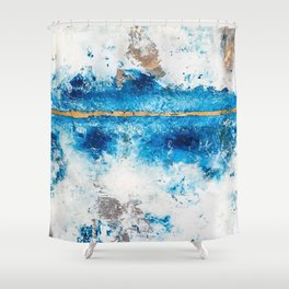 Blue Skies: a pretty, minimal abstract mixed-media piece in blue, white and gold Shower Curtain